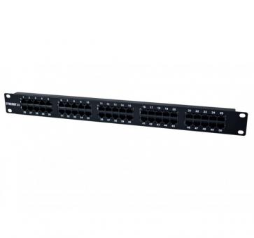 "19"" Patchpanel 50xTP, CAT3, ISDN in black"