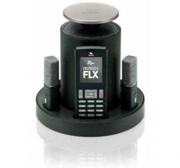 Revolabs FLX 2 VoIP conferencing system with an omnidirectional Mikforon and a clip-on microphone